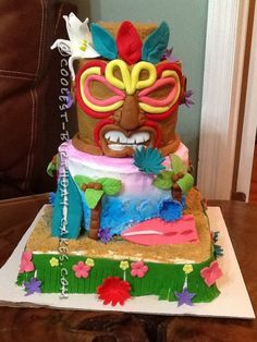 Coolest Tiki Island Birthdy Cake... This website is the Pinterest of birthday cake ideas