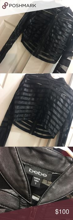 Bebe jacket Black leather & sheer Bebe cropped top. This can be worn as a jacket or as a sexy top with bandeau, or bralette underneath. As seen on Lala Vasquez (MTV personality/ Carmelo Anthony's wife) bebe Tops Crop Tops
