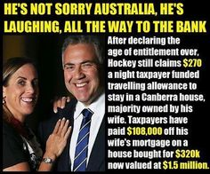 JOE FRAUD HOCKEY AND HIS OWN ENTITLEMENTS  NoWorkChoices retweeted mark dickenson ‏@bugwannostra 38m38 minutes ago Melbourne, Victoria