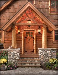 Log Cabin Design, Pictures, Remodel, Decor and Ideas. On a larger scale ~ w/ garage door Log Cabin Designs, Log Cabin Kits, Log Cabin Homes, Log Cabins, Mountain Cabins, Rustic Cabins, Cabin Porches, Front Porches, Log Home Living