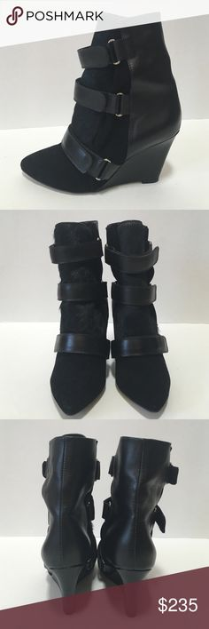 Isabel Marant Black  Leather Velcro Boots Isabel Marant black velcro leather boots. Excellent condition like new.  Has suede and fur detailing with a 3 inch heel. Isabel Marant Shoes Ankle Boots & Booties