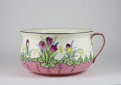 Antique Devon Ware Fieldings Tulip Decorated Porcelain Chamber Pot or Planter, English Edwardian