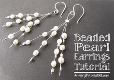 Cute beaded pearl earrings - free video tutorial. Would be great in other colors or with crystals! http://jewelrytutorialhq.com/diy-beaded-pearl-earrings-tutorial-video