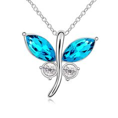 Hot Sale Fashion Crystal Small Pendant Necklace Jewelry Cute Butterfly White Gold-color Rhinestone Fine Pendants For Women Gift