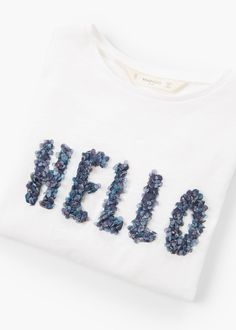 Message beaded t-shirt | MANGO KIDS
