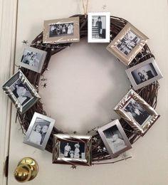 Memory Wreath I made for my grandma's birthday. Wreath: hobby lobby Frames: dollar tree Photos: milestones in her life 80 Birthday, Grandma Birthday, Birthday Celebration, Birthday Party Themes, Birthday Ideas, Fun Ideas, Party Ideas, Craft Ideas, Hobby Lobby Frames