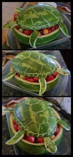 A TURTLE AND FRUIT  Cut a melon in half, scoop out the fruit in melon balls to be added back into the scooped out area along with other of your favorite fruit.     Take the top half and after scooping out the melon, into the top carve the pattern of a turtle shell. Use your imagination to carve the neck and head.