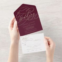 Romantic Gold Calligraphy Burgundy The Wedding Of Seal and Send Invite. Click to customize with your personalized details today. Budget Wedding Invitations, Burgundy Wedding Invitations, Wedding Menu Cards, Beautiful Wedding Invitations, Wedding Rsvp, Wedding Sets, Zazzle Invitations, Gold Wedding, Autumn Wedding