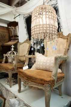 King & Queen - Shabby Chic Chairs with Musings of Monarchy.