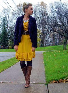 velvet blazer mustard dress. From the stylish mind of Missy :)...