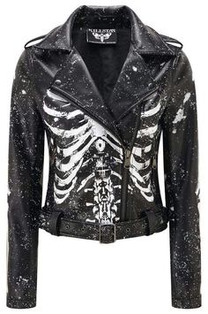 Morgue Gimme Bones Biker Jacket [B] - Mal Addams - Morgue Gimme Bones Biker Jacket [B] MORGUE. - Luxe A+ Grade Vegan Leather. 'Gimme Bones' biker jacket with contrasti - Dark Fashion, Denim Fashion, Womens Fashion, Fashion Clothes, Style Fashion, Women's Gothic Fashion, Biker Fashion, Fashion Styles, Fashion Boots
