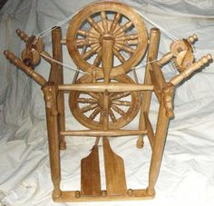Unusual spinning wheel | ... or as a gossip wheel as there are two drive bands already on wheel