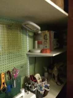 Right side view of craft closet.
