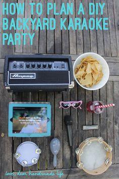 How to throw a backyard karaoke party - Dear Handmade Life Diy Karaoke Party, Diy Party, Party Ideas, Party Fun, Yard Party, Music Party, Game Ideas, Event Ideas, Slumber Parties