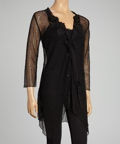 Black Sheer Linen-Blend Duster on #zulily