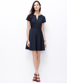 Pinstripe Flare Dress | Ann Taylor