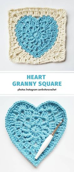 Heart Granny Square Valentine's Crochet Hearts and Daisies. Planning your square-based projects is all about playing with colors. Although Valentine's Day is traditionally associated with. Granny Square Crochet Pattern, Crochet Blocks, Afghan Crochet Patterns, Crochet Squares, Crochet Motif, Crochet Stitches, Knit Crochet, Free Crochet Heart Patterns, Crochet Granny Square Beginner