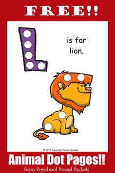 {FREE} Letter L Animal Alphabet Dots Printable! | Preschool Powol Packets