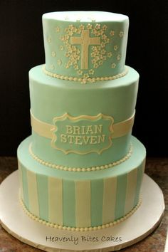 A sweet baptism cake!  http://www.heavenlybitescakes.com http://www.facebook.com/heavenlybitescakes