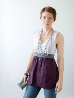 Tank top shirt - OOAK - womens, grey, white and burgundy made from upcycled men's dress shirt. $63.00, via Etsy.
