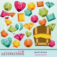Jewel Dream comes with 27 clipart graphics including: 25 gems and jewels in Green, Teal, Yellow, Orange and Pink, a strand of pearls and a treasure chest.