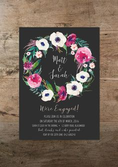 RMcreative offers the printable Boho Wreath engagement party invitation. Whether youre a lover of a good watercolour floral or all things boho, this design is guaranteed to add original detail to your celebration. • Invitation size: 5 x 7 • High-res 300ppi digital design, with your