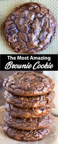 ✔️ The Most Amazing Brownie Cookie Recipe The Most Amazing Brownie . - ✔️ The Most Amazing Brownie Cookie Recipe The Most Amazing Brownie Cookie Recipe Köstliche Desserts, Delicious Desserts, Dessert Recipes, Bakery Recipes, Easy Cheesecake Recipes, Easy Cookie Recipes, Christmas Cookie Recipes, Christmas Cookies, Fun Baking Recipes