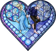 disney stained glass pattern jack frost and Elsa  Stained Glass: Frosted Love by Akili-Amethyst