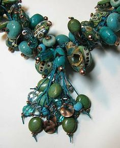 Beading Arts: Turquoise finger-woven necklace