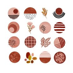 instagram story highlight icons burnt orange mustard yellow red hand painted earthy neutrals watercolor circles clipart blog branding kit