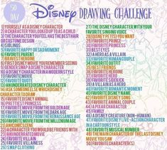 Ideas for drawing ideas disney creative Disney Drawing Challenge, Art Journal Challenge, 30 Day Drawing Challenge, Art Style Challenge, Disney Challenge, Art Drawings Sketches, Disney Drawings, Easy Drawings, Drawing Ideas List