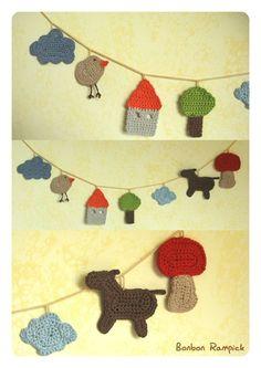 Crochet garland idea - link directe aquí: http://bonbonrampick.canalblog.com/archives/2008/07/28/10065939.html