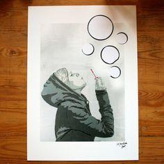 Digitaldruck mit extra geklebten Seifenblasen A3 (29,7x42 cm) 300g Qualitätsdruck matt  Dies ist ein Abdruck eines Originalbildes.  Design: ©2015 die fuechsin c/o Antje Ellerbrock. All rights...
