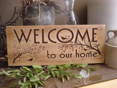 18 x 7 Carved Wooden Welcome Sign Nature inspired bird and tree branch design Best Gift idea for nature bird lover Nature Welcome Signs