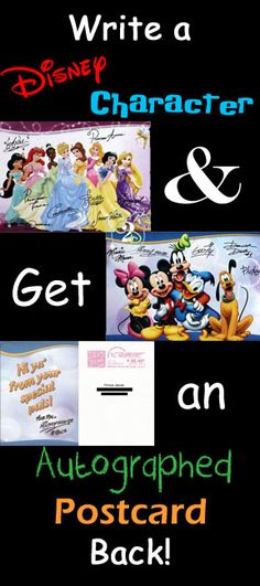 Your kids can write a Disney character and get an autographed postcard in return! Great way to teach them how to write letters and bring a little magic home.