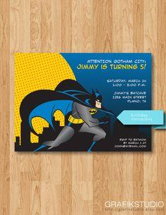 Printable Batman Birthday Invitations by GrafikStudio on Etsy, $15.00