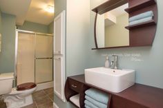 "Transitional 3/4 Bathroom with Flat panel cabinets, ZHJ45 Bathroom Mirror with Shelves (30"" x 30""), Built-in bookshelf"