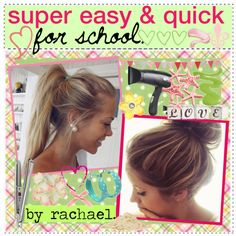 """easy & quick hairstyles for school. ♥"" by the-amazing-tip-chickas ❤ liked o. "" Quick Hairstyles, In my opinion, hair ribbons/scarves are the prettiest hair accessories. They can make a messy bun or a ponytail look elegant. They can make a bad hair. Quick Hairstyles For School, Easy Hairstyles For School, Fast Hairstyles, Pretty Hairstyles, Hairstyle Ideas, Simple Hairstyles, Stylish Hairstyles, Hairstyle Tutorials, Hair Ideas"