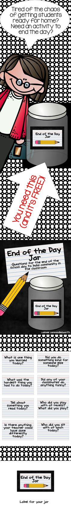 FREE!!  The End of the Jar is a great way to end the school day and wonderful for classroom management! (Although it seems to be intended for elementary school, many of these ideas could also be used for upper-grade exit cards!)