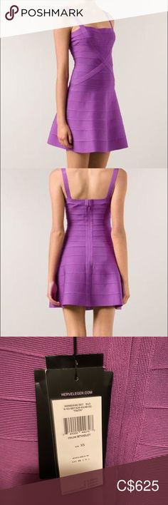 "New with tags: Herve Leger ""faith"" dress (purple) Herve Leger Dress, Plus Fashion, Fashion Tips, Fashion Trends, Purple Dress, Euro, Stretches, Size 2, Two Piece Skirt Set"