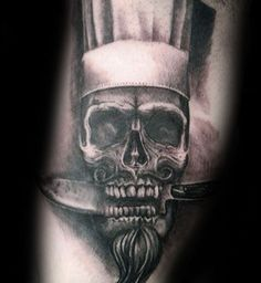 Skull With Chef Knife In Teeth Mens Arm Tattoos