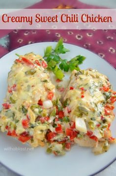 Tender, juicy Chicken smothered in a low-fat, creamy sauce ~ and it tastes as delicious as it looks ! {dump-n-bake recipe ! }