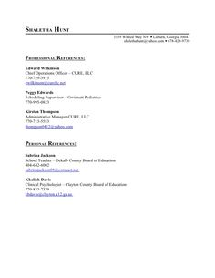 personal references for job
