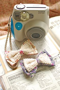 Fabric and Crochet Bow Tie - Moños de tela y croché