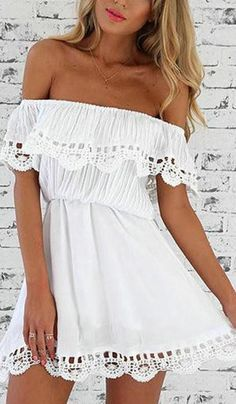 Sexy Off The Shoulder Solid Color Dress
