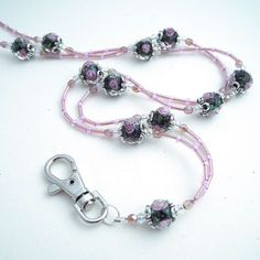 Black with Pink Rose Buds Lanyard - Handmade ID Badge Lanyards, Badge Reels, Eyeglass Chains Bead Jewellery, Glass Jewelry, Diy Jewelry, Beaded Jewelry, Beaded Necklace, Jewelry Making, Beaded Bracelets, Jewelry Ideas, Necklaces