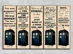 Printable Bookmarks , Doctor Who bookmark , Doctor Who , Printable Quote Bookmark, Instant download, Reader Gift
