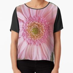 'Pink Gerbera' Chiffon Top by ellenhenry Pink Gerbera, Pink Carnations, Floral Photography, Pale Pink, Chiffon Tops, Tie Dye, Classic T Shirts, Pretty, Fabric