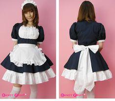 【メイド服 コスチューム コスプレ】ふりふり紺メイド服