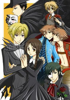 Mori-V, Honey-Harry Potter, Hikaru Kaoru- Virgil Dante, Tamaki-Jack Skellington, Haruhi-Wednesday Addams, Kyoya-Phantom of the Opera